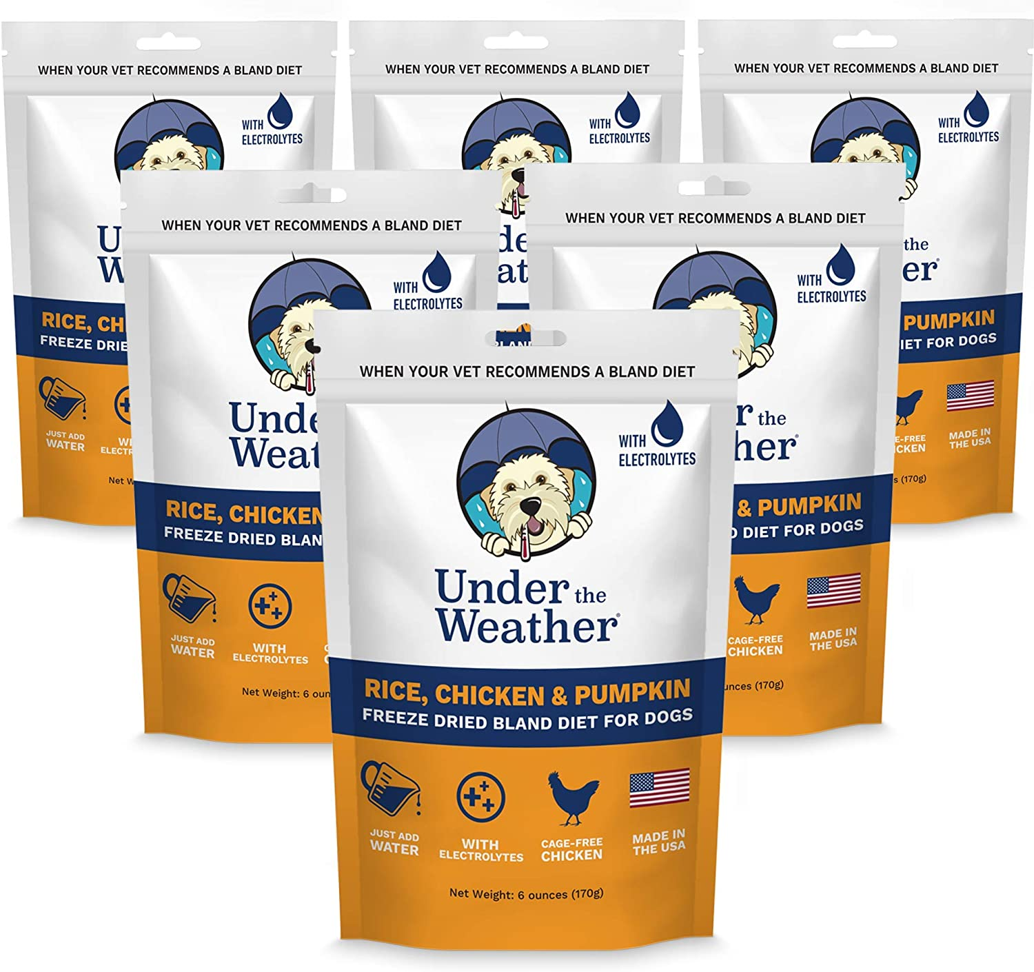 Under the Weather Easy to Digest Bland Diet for Sick Dogs - Contains Electrolytes - Gluten Free, All Natural, Freeze Dried 100% Human Grade Meats (Buy 5 - GET ONE Free) - Rice, Chicken & Pumpkin