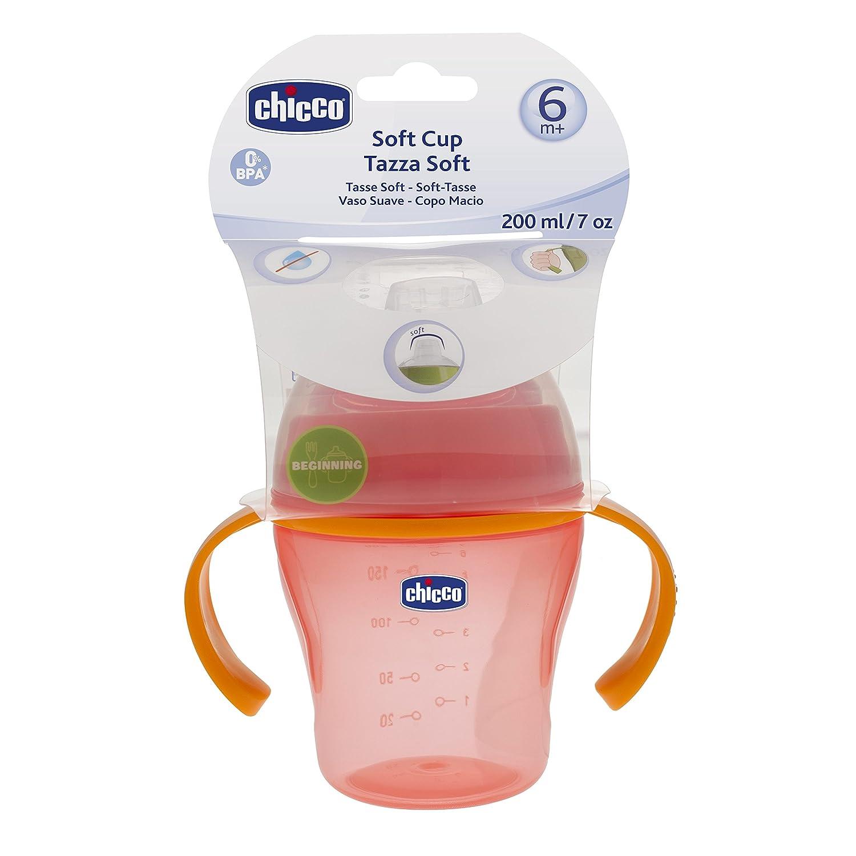 Chicco - Vaso suave con asa y sistema antigotéo, 200 ml, 6m+, colores surtidos azul o rosa: Amazon.es: Bebé