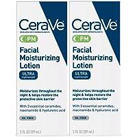 CeraVe Facial Moisturizing Lotion PM Ultra Lightweight 3 Fl oz (Pack of 2)