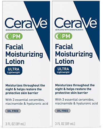 Cera Ve Facial Moisturizing Lotion Pm | 3 Ounce (Pack Of 2) | Ultra Lightweight, Night Face Moisturizer | Fragrance Free by Cera Ve
