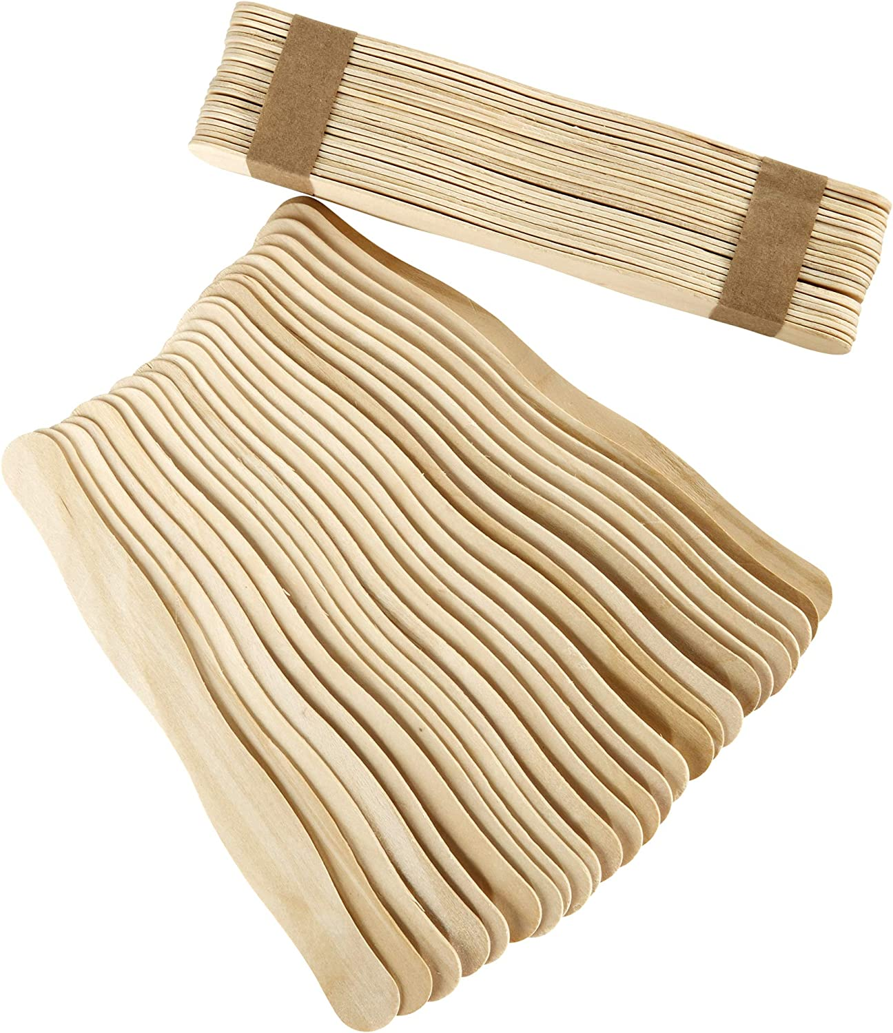 Artlicious - 100 Unfinished Natural Wood Wavy Popsicle Craft Sticks, 8 inch Long, Great for Paint Sticks, Tongue Depressors (100 Wavy Sticks)