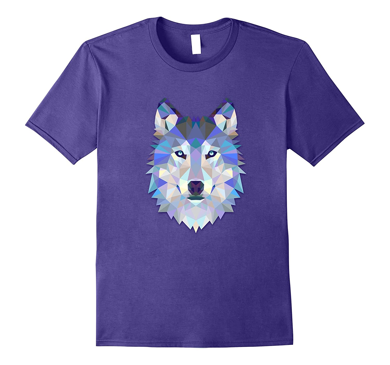 Fancy Blue Purple Polygon Triangle Wolf T-Shirt-TH