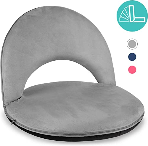 Best Choice Products Multipurpose Adjustable Cushioned Floor Chair Recliner for Gaming, Reading, Lounging, Meditation w 6 Backrest Positions, Machine-Washable Microfiber Cover, Easy Storage – Gray
