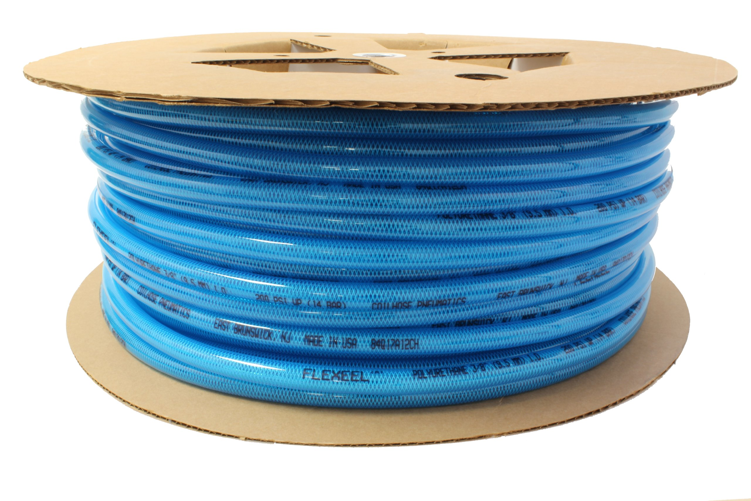 Coilhose Pneumatics PFE6200T Flexeel Reinforced Polyurethane Air Hose, 3/8-Inch ID, 200-Foot Length, No Fittings, Transparent Blue
