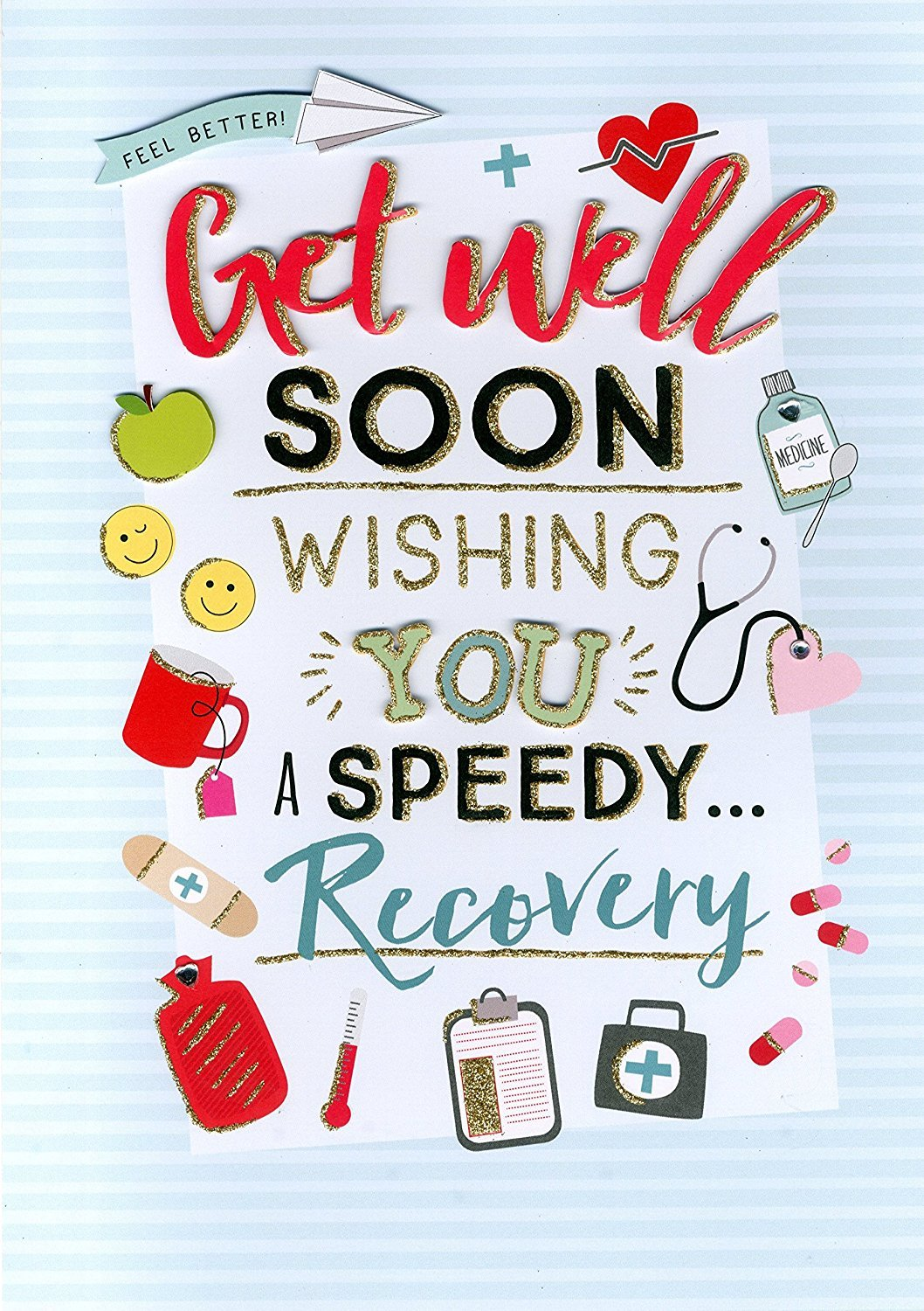 Get Well Soon Gigantic Greeting Card Embellished Flittered A4