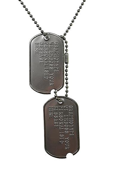 Juego de placa de identificación, estilo militar estadounidense en la Segunda Guerra Mundial, de acero inoxidable, pre 1965; réplica exacta en relieve ...