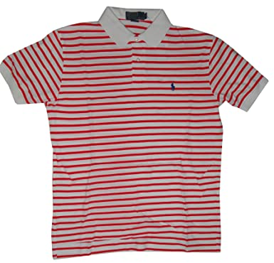 726ef293f Polo By Ralph Lauren Men's Short Sleeve Shirt White with Red Stripes (Large)