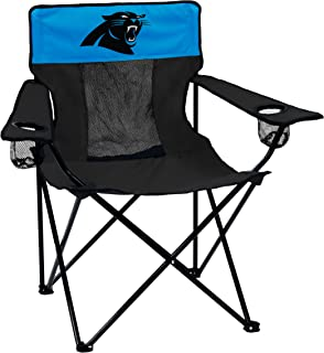 Logo Brands NFL Carolina Panthers Folding Elite Chair with Mesh Back and Carry Bag, Charcoal, One Size