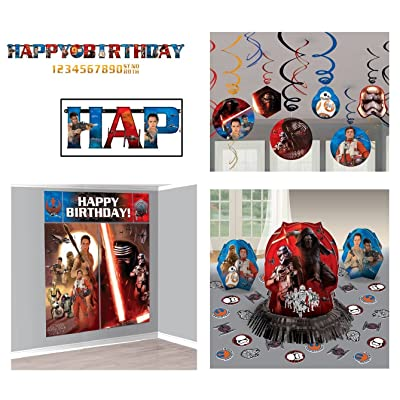 Disney Star Wars Birthday Pack (Banner, Wall Poster, Swirls & Table Decor Kit): Toys & Games