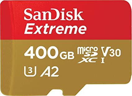 SanDisk Extreme - Tarjeta de memoria microSDXC de 400 GB con adaptador SD, A2, hasta 160 MB/s, Class 10, U3 y V30