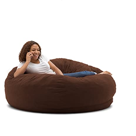 Big Joe King Fuf Foam Filled Bean Bag Chair Comfort Suede Espresso