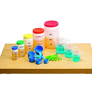edx Education Liquid Volume Measuring Set - 5 Bottles - 3 Pitchers - 5 Measuring Cups - 6 Measuring Spoons