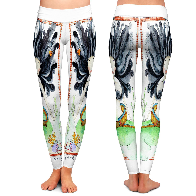 Athletic Yoga Leggings from DiaNoche Designs by Marley Ungaro Meditating Mermaid