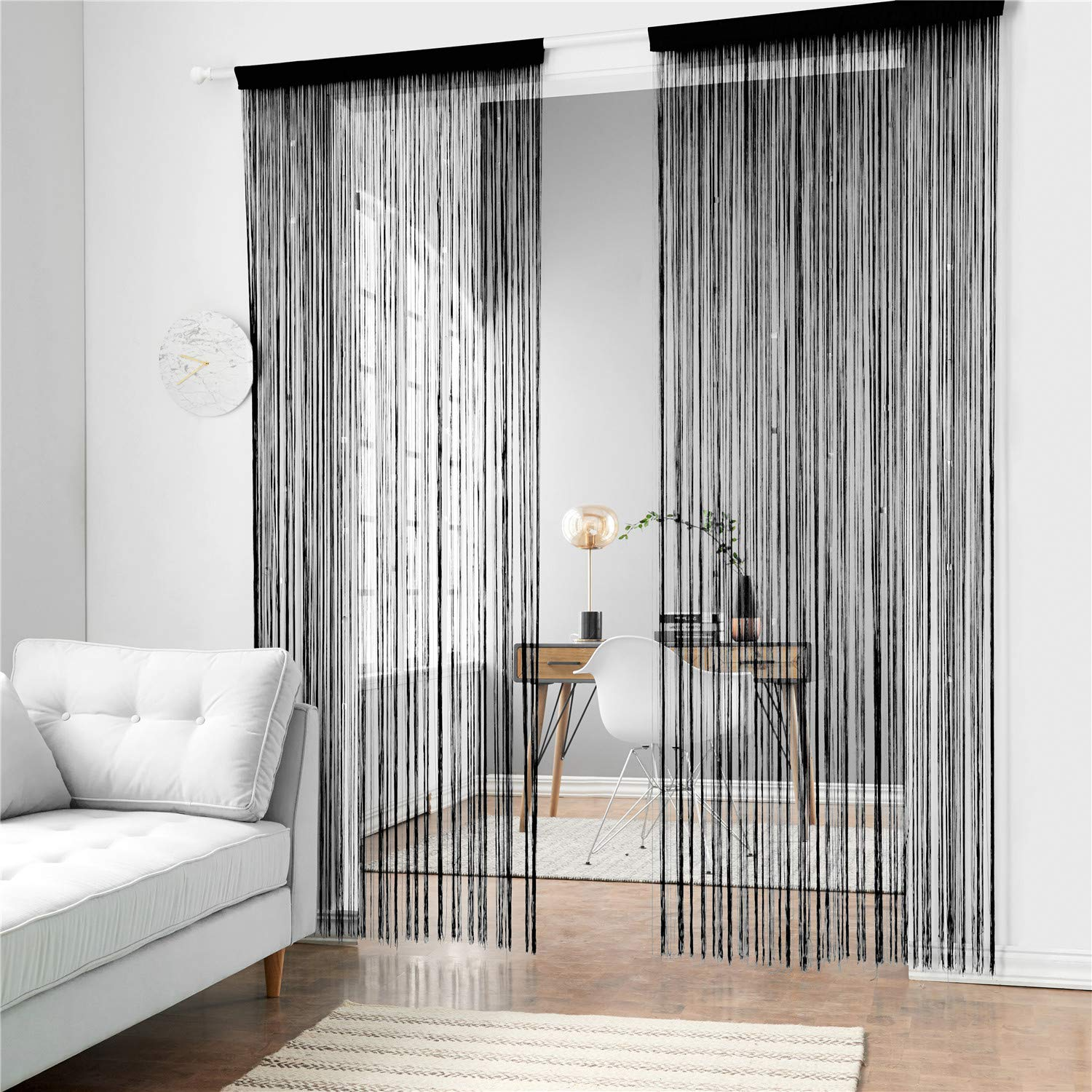 Taiyuhomes Dense String Curtain Fringe String Door Curtain Panels Room Divider Fly Screen for Living Room (39x110,Grey