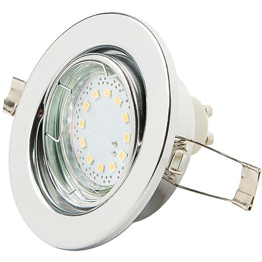 Reflector de techo LED de Levivo, blanco cálido, con 12 LED SMD y 125 lúmenes, reflector empotrado orientable, para como lámpara de techo de bajo ...