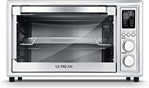 Ultrean Air Fryer Toaster Oven Cambo,32 Quart Convection Oven Countertop with Rotisserie, Toaster, Dehydrator ,Bake,7 Accessories & 50 Recipes, Silver