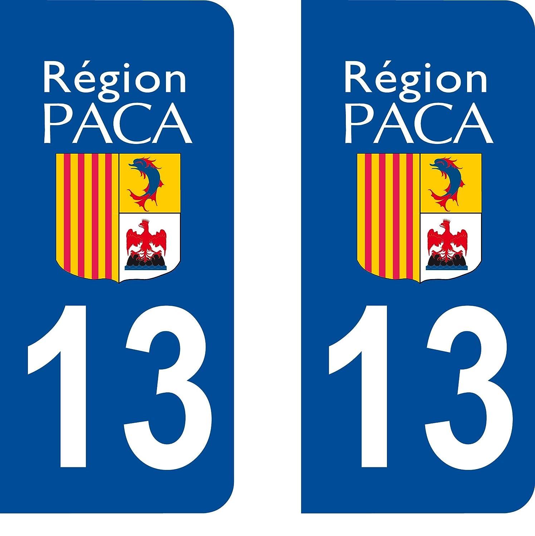 2 Autocollants de plaque dimmatriculation auto 13 PACA LogoType