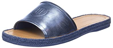 225ae7f16683a0 Tommy Hilfiger Women s s Metallic Flat Mule Open Toe Sandals Blue (English  Manor 415) 3.5