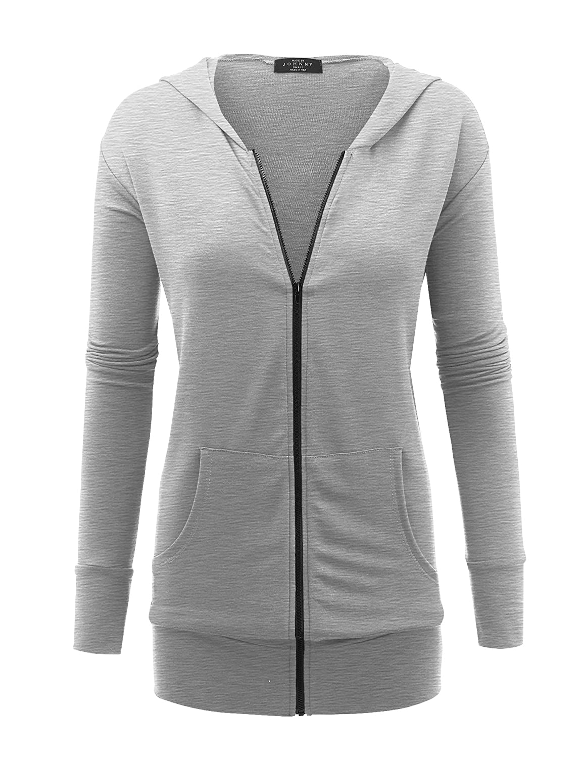 Made By Johnny Womens Lightweight Zip up Hoodie Jackets