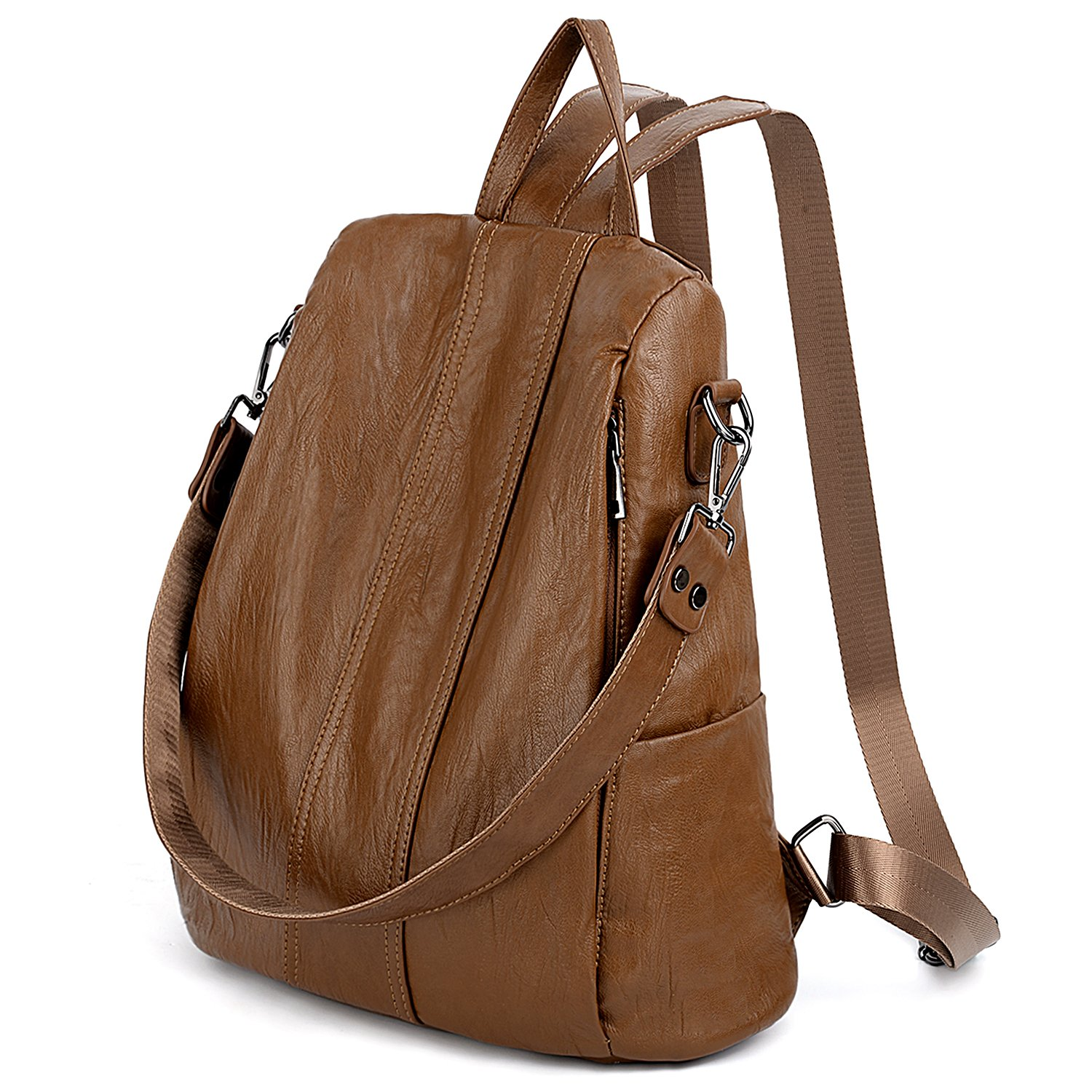 UTO Women Anti-Theft Backpack Purse PU Washed Leather Convertible Ladies Rucksack Shoulder Bag Brown by UTO