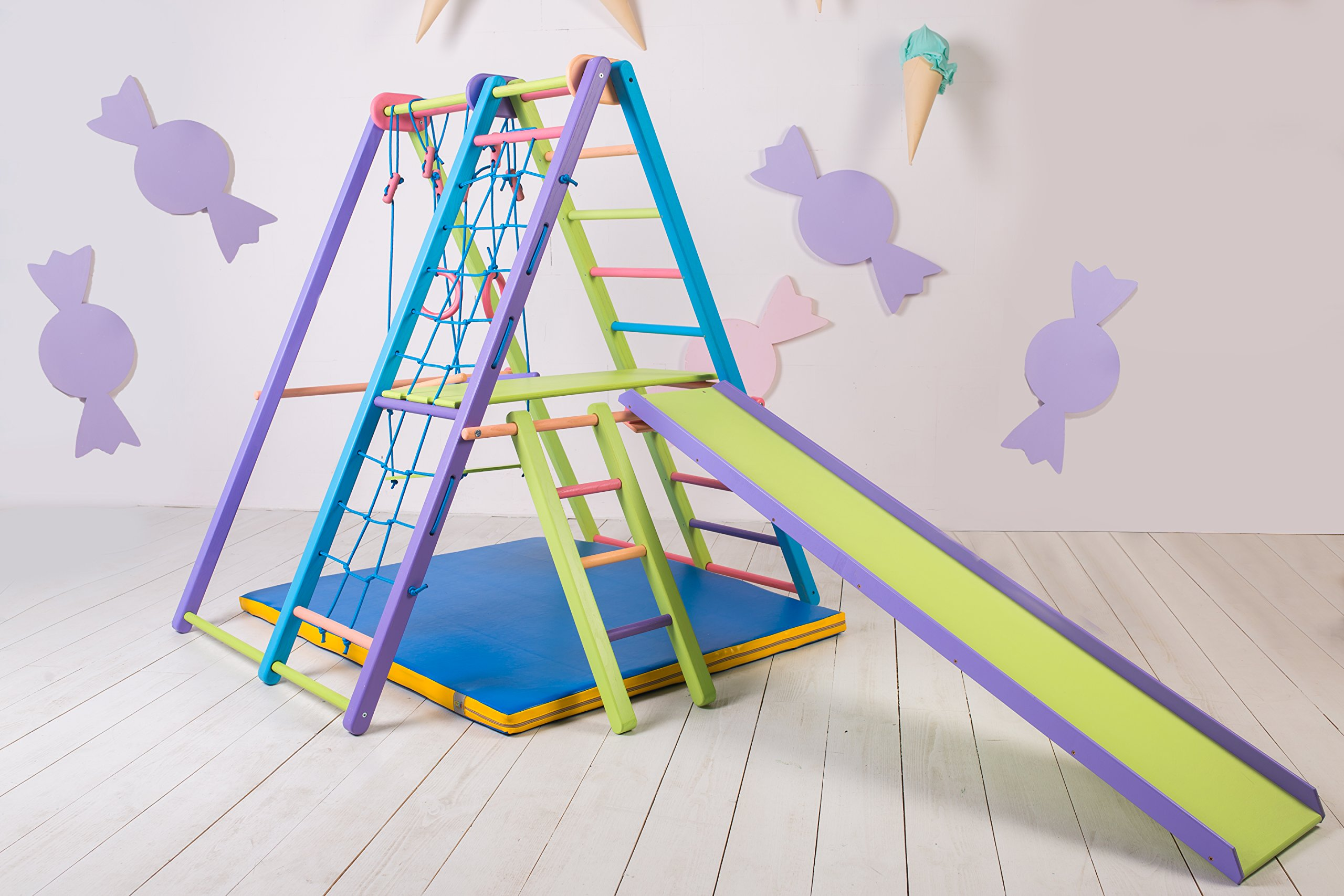 EZPlay Indoor Jungle Gym – Sturdy Toddler Playset, Foldable Kids Play Area with Monkey Bars, Climbing Ladder, Toddler Slide, Swing Set & Rings, Play Structure for Ages 1-5
