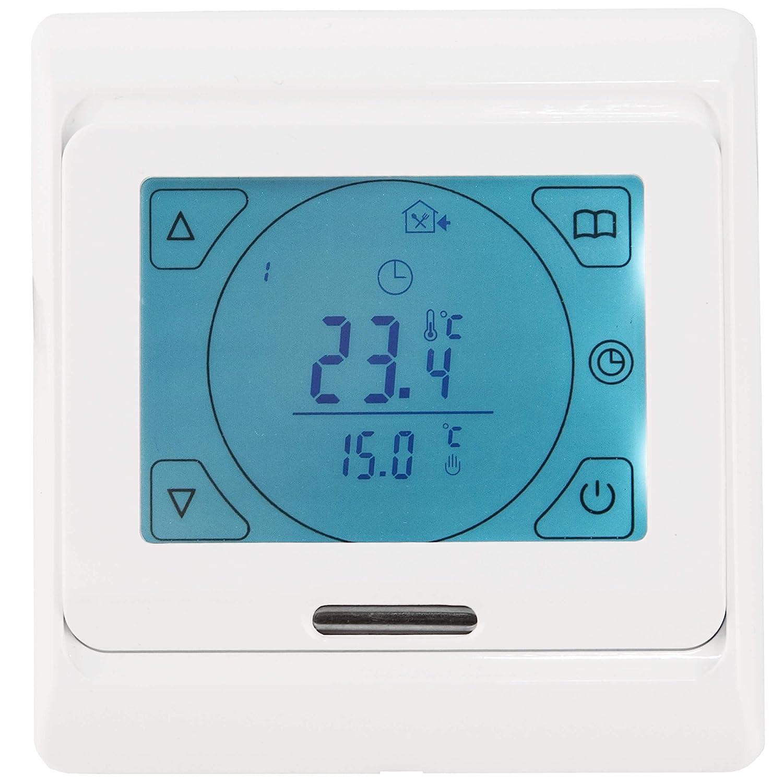 Vilstein© - Termostato de temperatura ambiental digital para calefacción eléctrica por radiación de suelo, pantalla táctil, iluminado, programable, ...