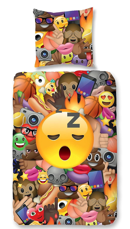 Aminata Kids Kinder-Bettwäsche-Set 135-x-200 cm Emoji Smiley Mädchen bunt-e Junge-n Jungs Jugend-liche-r 100-% Baumwolle Bett-Bezüge Bett-Bezug Normal-Größe Einzel-bett-Decke Reißverschluss Oeko-Tex Kopf-Kissen 80-x-80 2-teilig Emoticon What-S Up App Handy