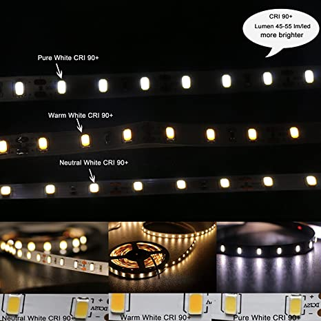Daylight Strip Lights Amazon marswell cri 90 led strip lights neutral white 4000k marswell cri 90 led strip lights neutral white 4000k 4500k daylight smd5630 non audiocablefo