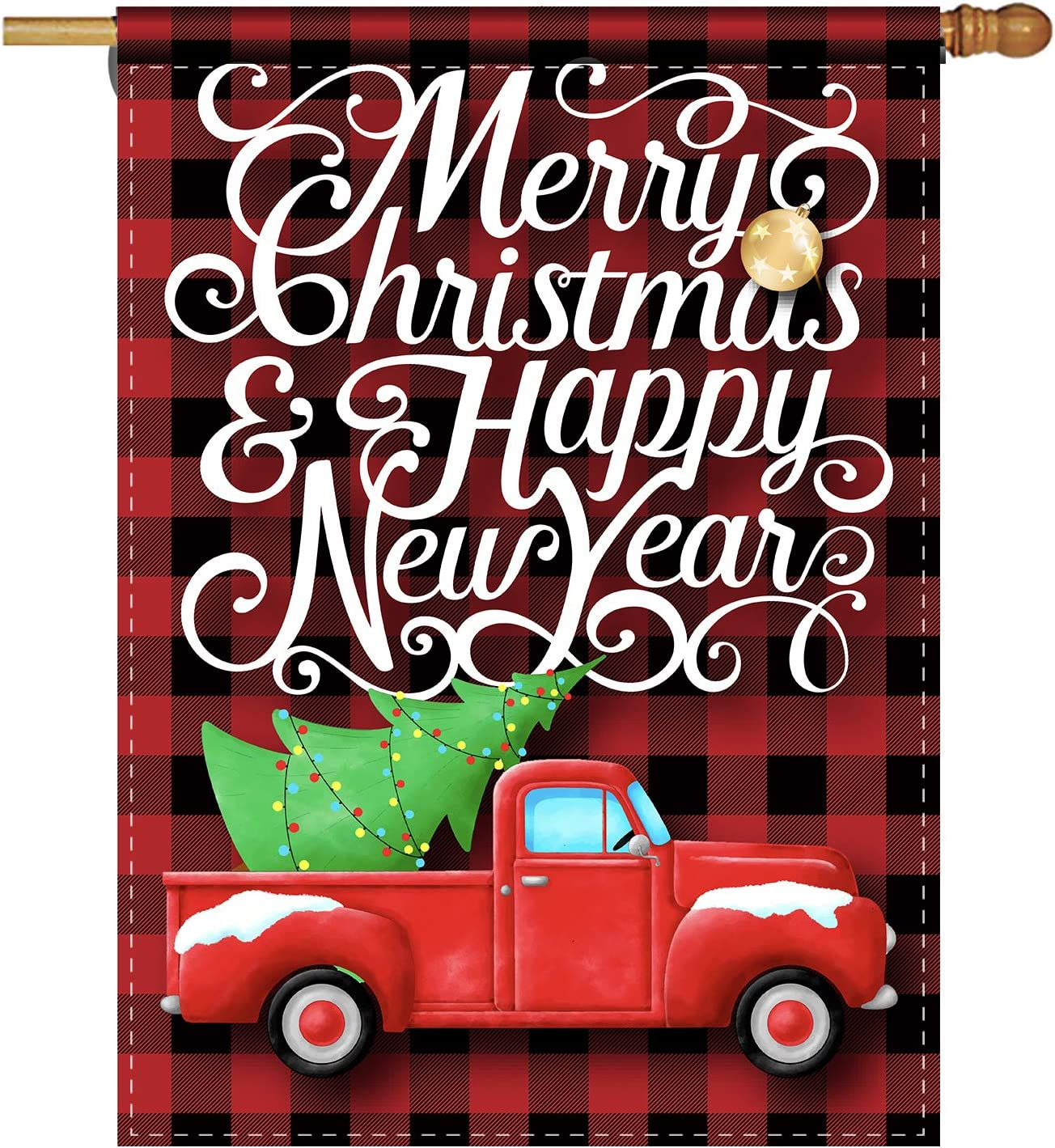 ForbiddenPaper RusticMerry Christmas Happy New Year Red Black Buffalo Check Plaid Winter Holiday Decorative Home Garden Flag Decor Banner for Outside 28 x 40 Inch(Double Sided)