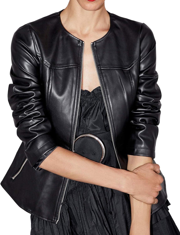 Zara 3046/242 - Chaqueta de Piel sintética para Mujer Negro XS ...