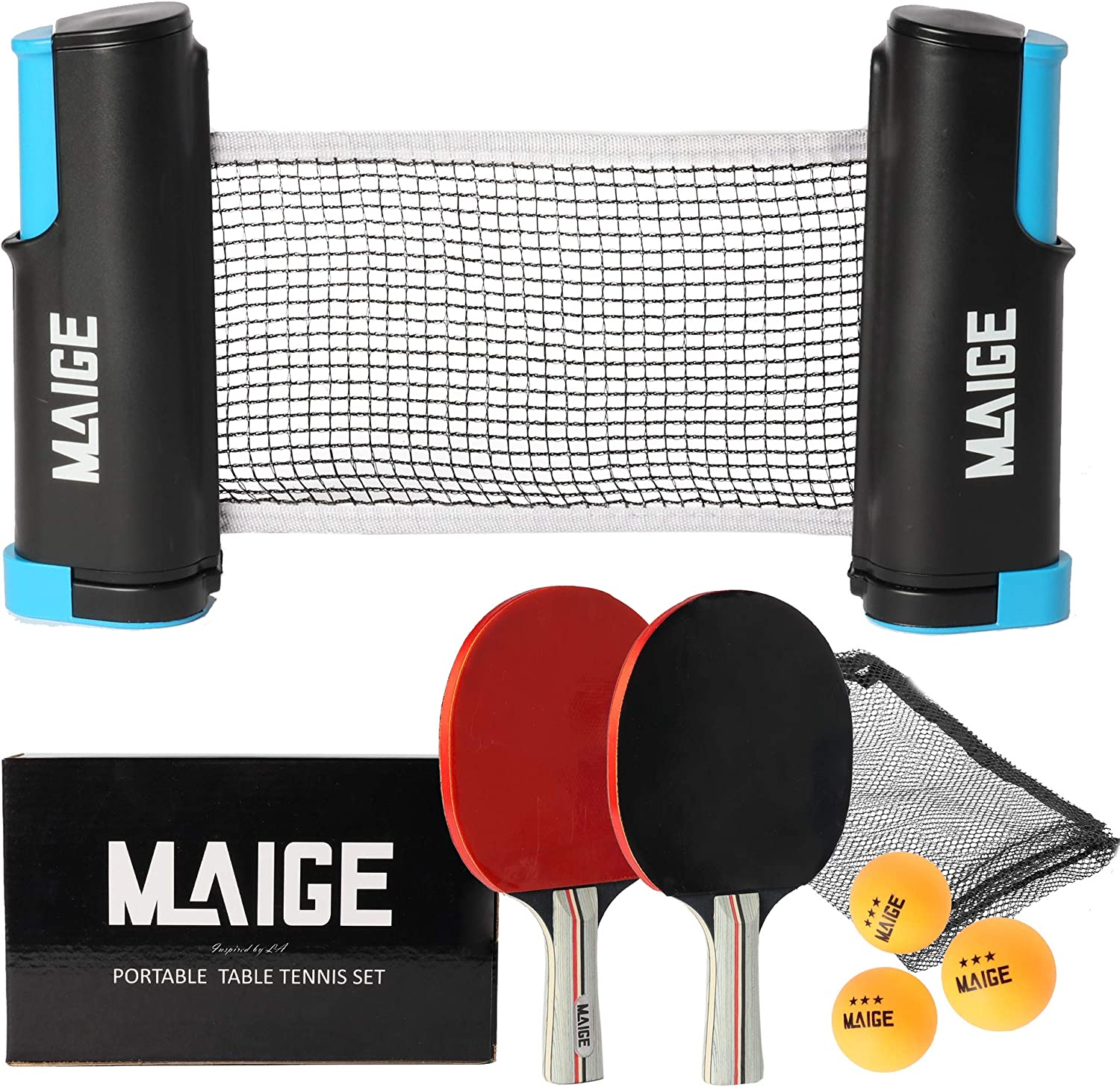 Maige Ping Pong Paddle Set | Table Tennis Paddle Set with Retractable Net | Portable Case and 3 Star Balls| Perfect for Home Indoor or Outdoor Play | Attach to Any Tabletop Surface