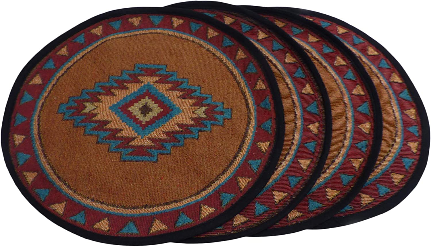 Southwestern Placemats for Dining Table - Round Southwest Place Mats Set of 4 - Southwestern Kitchen Décor Luna