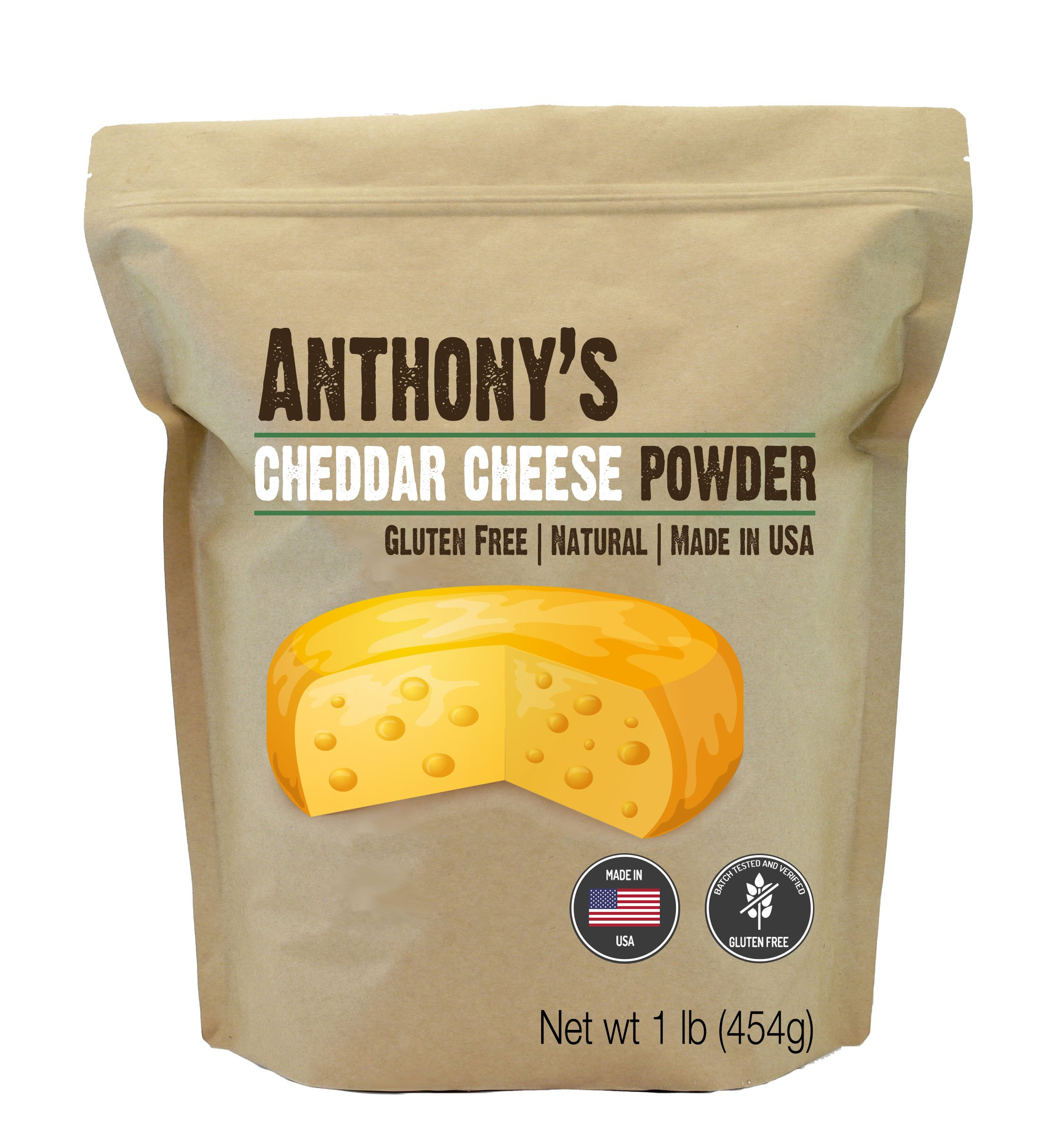 Anthony's Premium Cheddar Cheese Powder (1lb) Batch Tested and Verified Gluten Free, No Artificial Colors