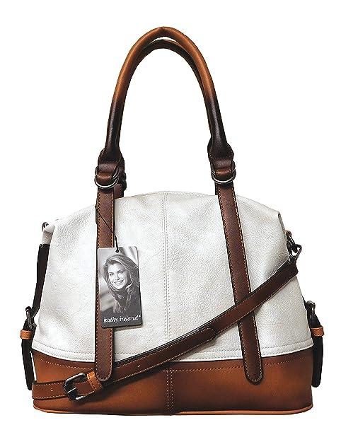 7841bbf00c kathy ireland White Super Soft Premium Pebbled Vegan leather Luxe Ombre  Hobo Handbag