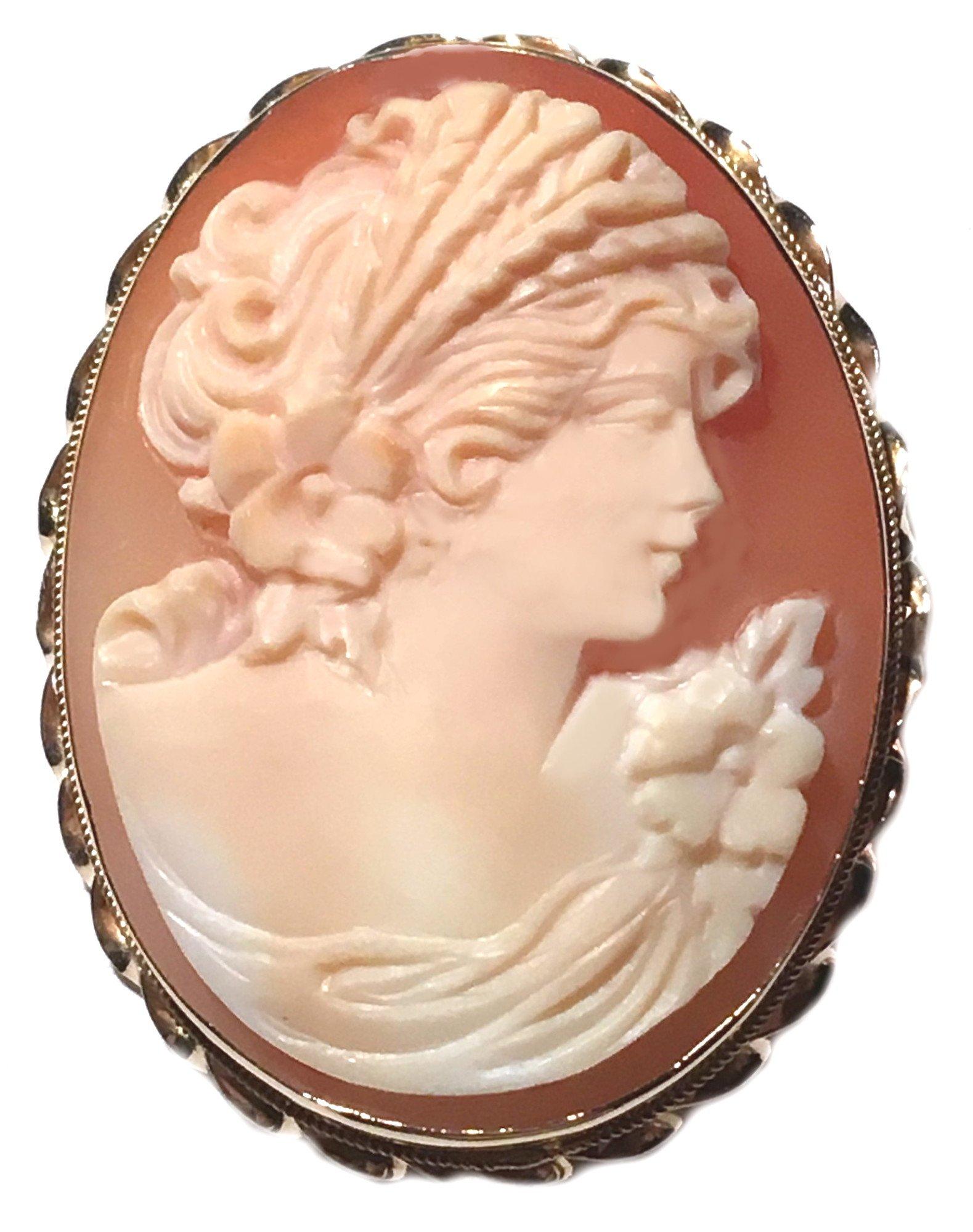 Master Carved, Carnelian Shell Autumn Love Cameo Brooch and Pendant Italian 14k Yellow Gold Italian