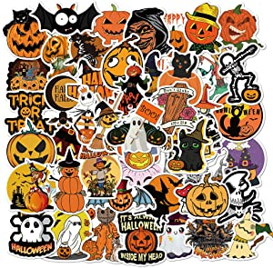 MSOLE 50PCS Halloween Stickers for Water Bottles Laptop HydroFlasks Aesthetic Decals for Mac Computer Phone Guitar Skateboard