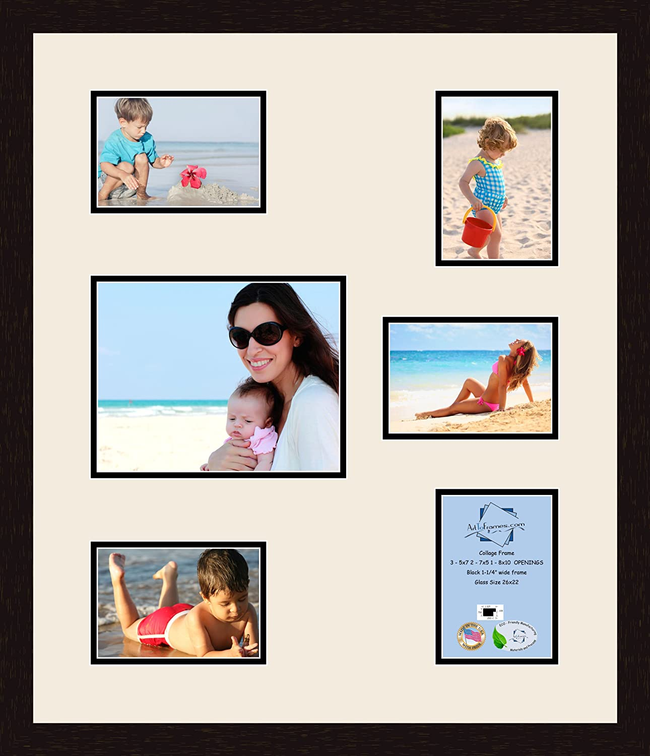 Art to Frames Double-Multimat-362-824//89-FRBW26061 Collage Frame Photo Mat Double Mat with 5-5x7 and 1-8x10 Openings and Espresso Frame