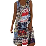 YSWD Women Ethnic Print Dress Summer V-Neck Sleeveless Pullover Long Dresses Slim Fit