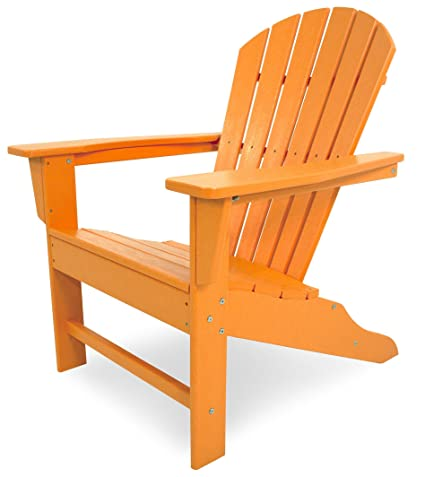 POLYWOOD Outdoor Furniture South Beach Adirondack Chair, Tangerine Recycled  Plastic Materials