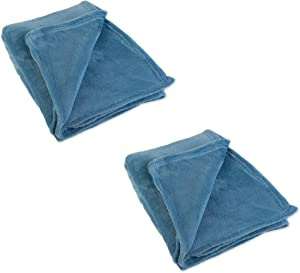 J & M Home Fashions Solid Plush Fleece Throw, 50 by 60-Inch, Copen Blue, 2-Pack