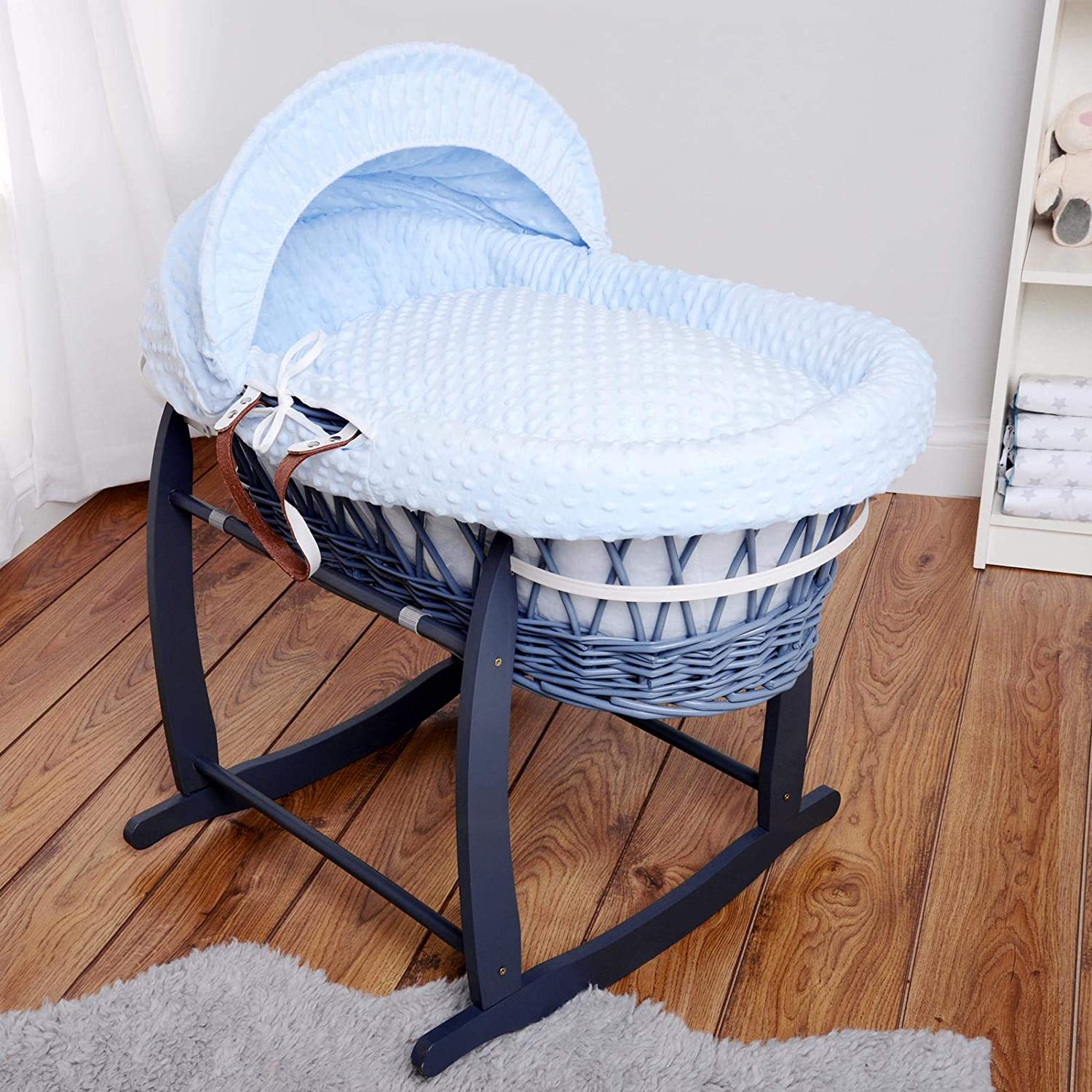 Isabella Alicia Designer Grey Wicker Moses Basket with Blue Dimple Dressing and Rocking Stand