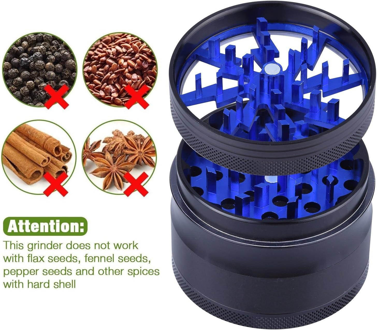Pollen Grinder Crusher 63mm f/ür Tabak,Spice,Gew/ürze,Herb,Kaffee 4-Teiliges Set mit Pollen Scraper