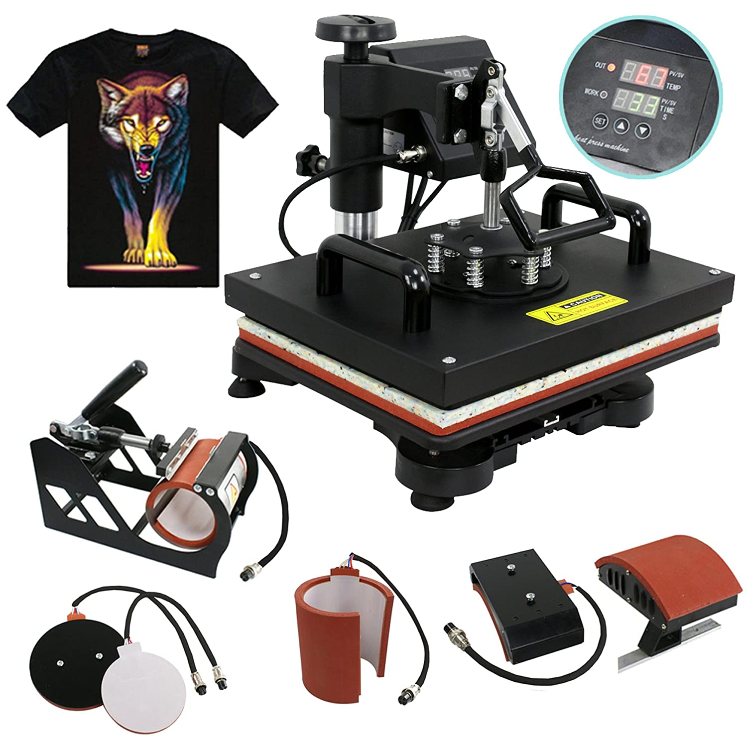 F2C 5 in 1 Professional Digital Transfer Sublimation Swing-Away 360-degree Rotation Heat Press Machine Hat/Mug/Plate/Cap/T-Shirt Multifunction Black
