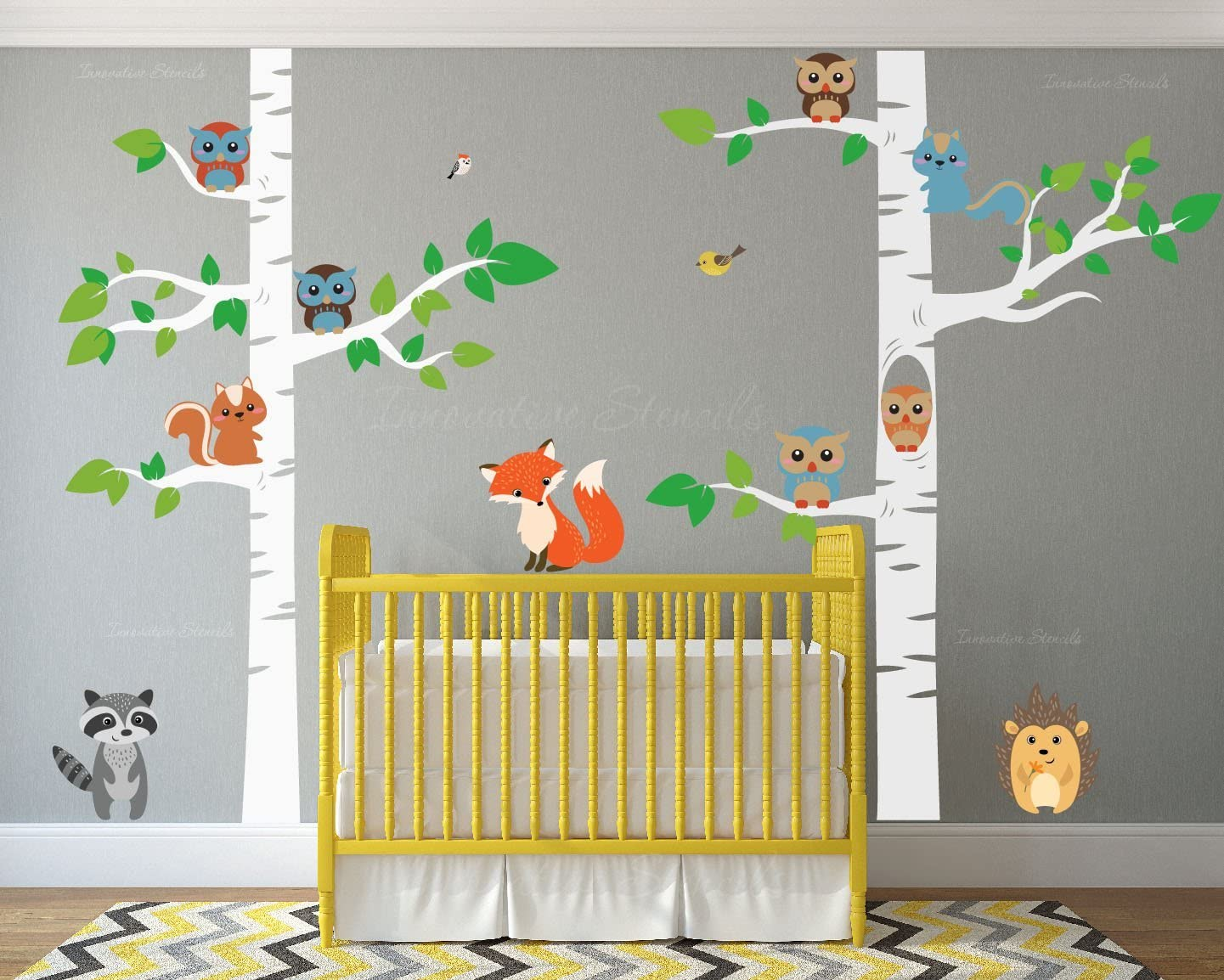 "Innovative Stencils Birch Tree Wall Decal Forest with Owl Birds Squirrels Fox Porcupine Racoon Vinyl Sticker Woodland Children Decor Removable #1327 (108"" (9ft) Tall, White Trees)"