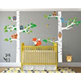 """Birch Tree Wall Decal Forest with Owl Birds Squirrels Fox Porcupine Racoon Vinyl Sticker Woodland Children Decor Removable #1327 (84"""" (7 ft) Tall, White Trees)"""