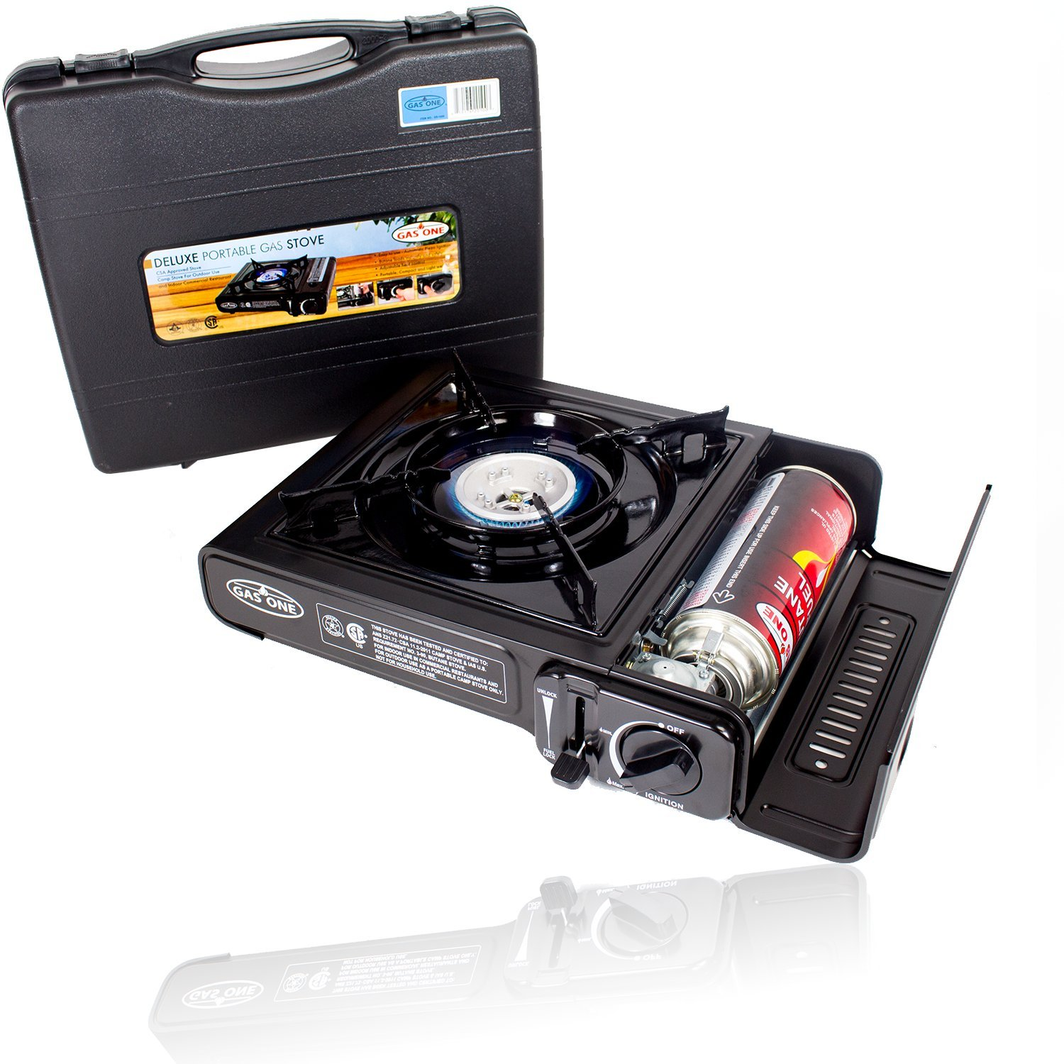 GAS ONE GS 1000 7,650 BTU Portable Butane Gas Stove Automatic Ignition With  Carrying Case