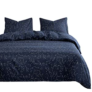 Wake In Cloud - Constellation Comforter Set, Navy Blue with White Space Stars Pattern Printed, Soft Microfiber Bedding (3pcs, Twin Size)
