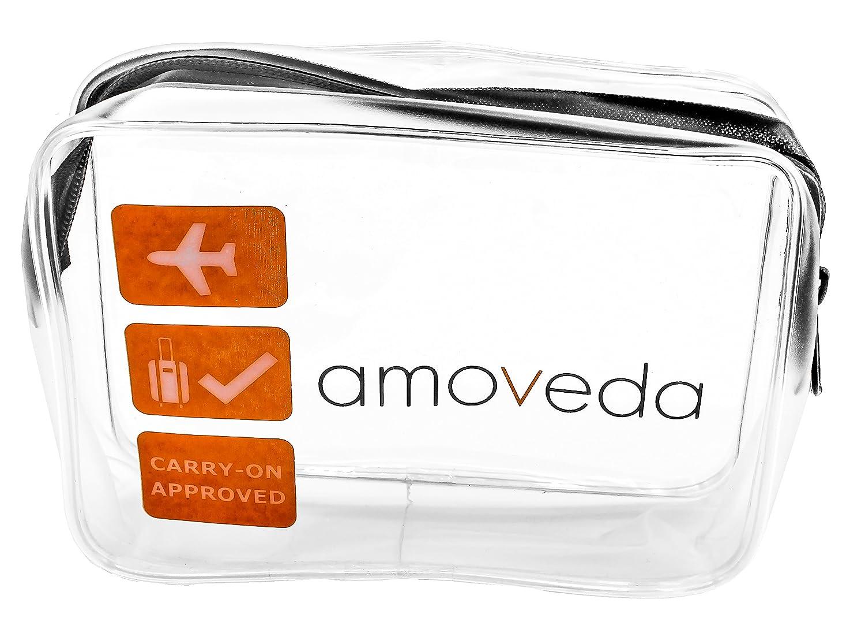 Borsa da toilette trasparente per bagaglio a mano in cabina. TSA compatibile in aeroporto per bottiglie, liquidi, cosmetici. Cerniera YKK premium.