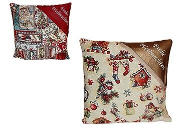 Kissenhülle 40x40 Cm Frohe Weihnachten Gobelin Beige Bunt