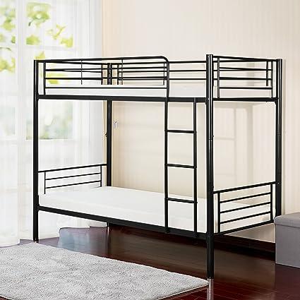 Black metal bunk bed Double Story Merax Wf035780baa Twin Metal Bunk Bed Black Amazoncom Amazoncom Merax Wf035780baa Twin Metal Bunk Bed Black Kitchen
